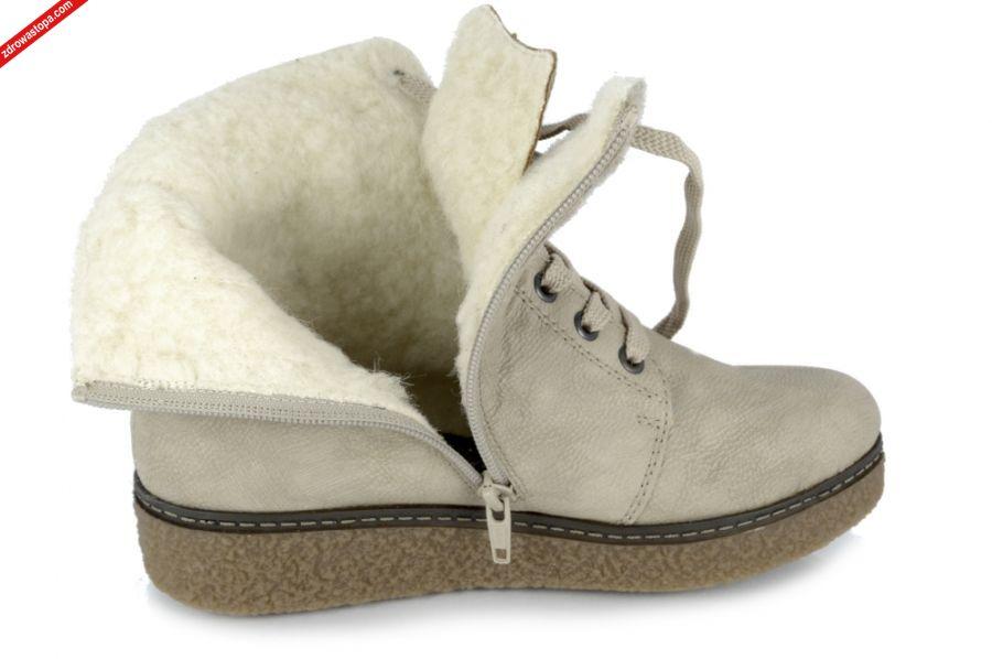 0eb0d0bf05730c Wnętrze buta: naturalne wełniane futro. Rozmiar: 42. Wysokość klinu: 30 mm.  Dodatkowe informacje: Najnowsza kolekcja botka damskiego firmy RIEKER, ...
